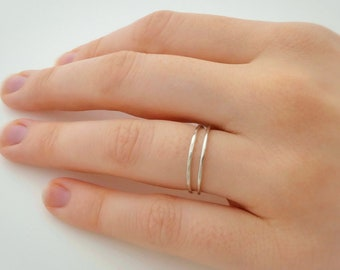 Set of 2 Extra Thin Sterling Silver Stacking Rings - Two 1.1mm Round Band Sterling Silver Skinny Rings - Ultra Thin Silver Ring
