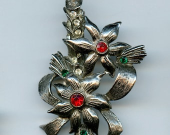 Vintage Beatrix Candle Poinsettia Christmas Holiday Brooch Pin