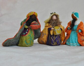 Needle felted Nativity Set. Nativity Waldorf 3 Wise men. Magi. Ready to ship