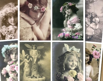 16 x Beautiful Vintage Victorian and Edwardian images, sticker- decoupage decal
