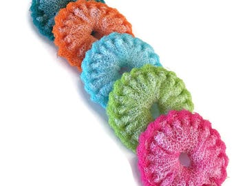 "Dish Scrubbies , 5 Mini Dish Scrubbies, Nylon Pot Scrubbers,Double Layered -  You Choose the Color - 3 1/4""  to  3 1/2 "" Dia -  Gift For Her"