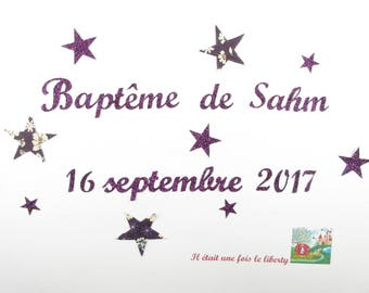 Applied fusing baptism with customization name of child and date in glitter or non fabrics (choose colors)