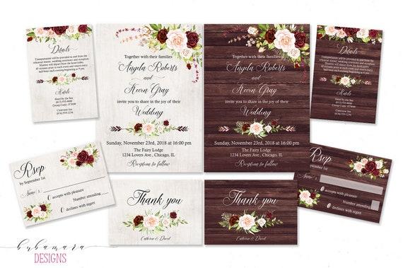 Rustic Burgundy Wedding Invitation Marsala Pink Roses Floral Wedding Invite Cream Roses Printable Boho Wood Wedding Invitation Suite Ws054