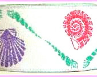 "Woven Ribbon 1"" x 3 yards Multiple up and down Shells in White, Coral, Turquoise, Purple and Pink -  Fabulous Colors"