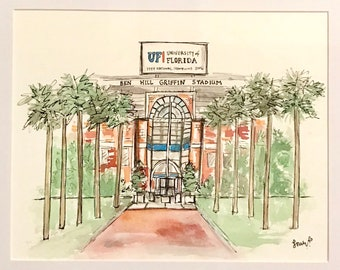 Custom University, College, Sorority, Fraternity, or Stadium illustration, Graduation Gift, Archival Quality 8x10 original watecolor