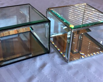 Square clear beveled glass box,  6 x 6 x 4 inches, a beautiful display box for your keepsakes