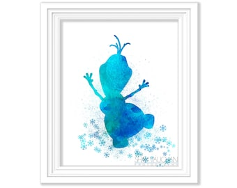 Olaf Art Print Olaf Watercolor Print  Poster Nursery Art Olaf Painting Illustrations Children's Room Wall Art   (No.147)