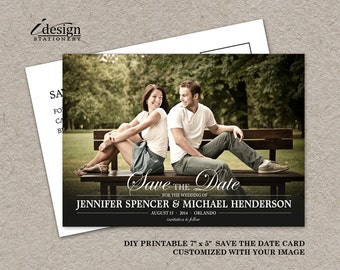 Save The Date Photo Postcard, Save The Date Postcard, DIY Printable Save The Date, Wedding Save The Date, Save The Date Post Card