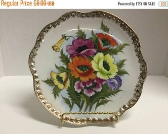 Sale Vintage Hand Painted Floral Flower Plate Gold Trim Floral Plate