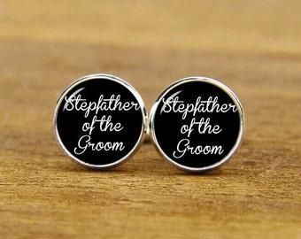 Stepfather Of The Groom Cufflinks, Custom Wedding Cuff Links, Round, Square Cufflinks & Tie Clips, Groom Cufflinks, Stepdad Cuff Links, Gift