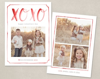 Valentine Card Template Watercolor Valentines day - CV003