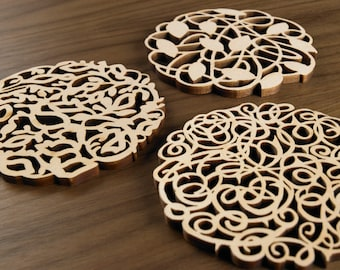 Hardwood Graphic Coasters - Vines Series