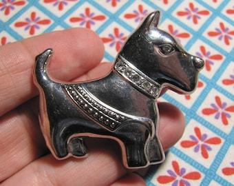 Sweet Vintage Silver Toned Scottie Dog Scottish Terrier Brooch Pin