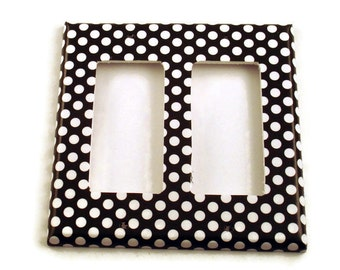 Wall Decor Double Rocker Light Switch Cover  Switchplate Switch Plate in  Polka Dots Rock (207DR)