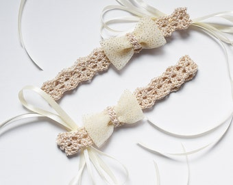 Mommy and Baby Matching Headbands, Mommy and Me Headband Set, Mother and Baby Girl Gold Headband Set, Matching Bow Headbands for Girls