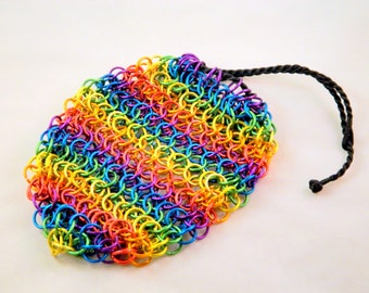 Rainbow Drawstring Chainmaille Bag