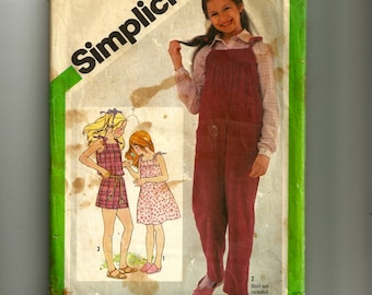 Vintage Simplicity Girl's Loose Fitting Jumpsuit and Sundress Pattern 9987