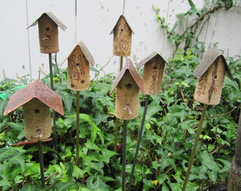 Cork Birdhouse Garden Stakes with Metal Roof  /  Cork Birdhouse Garden Art  /  Birdhouse Stakes Garden Art