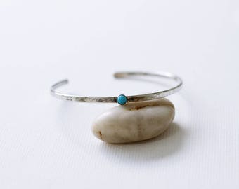 Turquoise 9ct gold and sterling silver cuff bracelet, Minimalist silver cuff bracelet, blue and gold