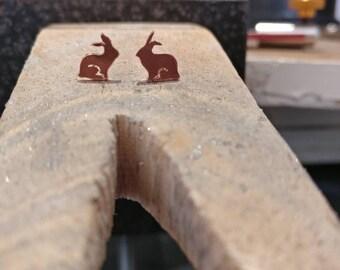 Copper Rabbit, mum earrings, rabbit jewellery, woodland earrings, rabbit studs, bunny stud earrings, rabbit earrings, copper bunny