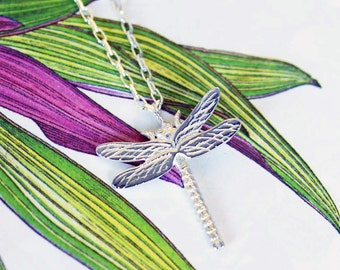 Silver Dragonfly Necklace, dragonfly jewellery