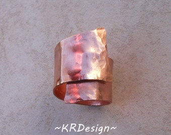 Copper-Rose Gold-Ring-Band-Hancrafted-Hammered-Adjustable-Customized  / Free US Shipping