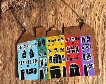 Charleston's Rainbow Row, Rainbow Row, East Bay Street, Row Houses, Colorful Houses, Folk Art, Folk Ornament, Copper Ornament, Handpainted