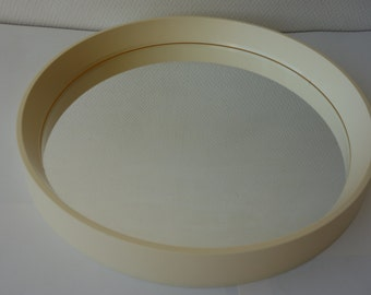 Vintage Termotex Denmark reflections round mirror cream white mid century modern Danish design