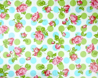 Laminated cotton aka oilcloth Freespirit Tanya Whelan Falling Roses Blue