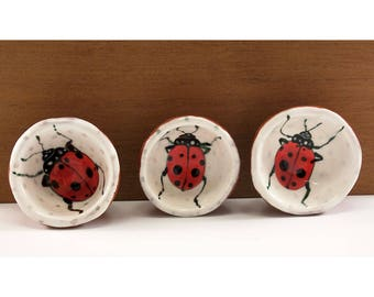 Lady Bugs Painted in Three Mini Bowls - Ceramic Bowl Set - Original Painting by Jenny Mendes in three Hand Pinched Ceramic Finger Bowls