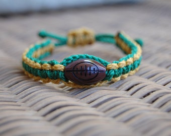 Green and Gold Trendy Football Bracelet /  Football Mom / Football / Football Team / Gift Exchange / Goody Bag / Sports Jewelry / Sports