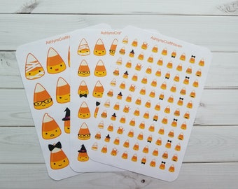 Kawaii Halloween Candy Corn Planner Stickers- Perfect For Any Planner- Erin Condren, Happy Planner, Filofax