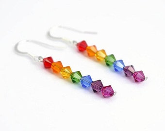 Rainbow Earrings, Swarovski Crystal, Swarovski Earrings, Rainbow Dangle Earrings, Rainbow Drop Earrings, Rainbow Jewellery, Rainbow Wedding