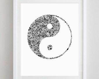 Yin Yang Floral Watercolor Art Print