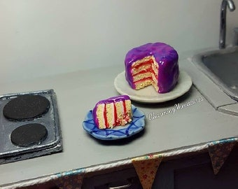 1:12 Scale Handmade Miniature Dolls House Galaxy Cake