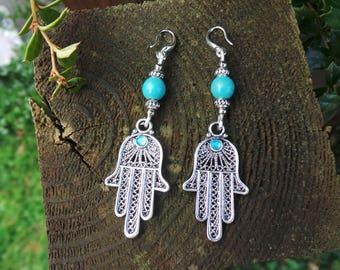 Turquoise Hamsa Earrings, Turquoise Earrings, Hamsa Hand Earrings, Hamsa Jewelry, Hamsa Jewellery, Bohemian Earrings, Hamsa Earrings