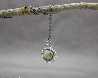 Ocean Jasper Necklace, Ocean Jasper Pendant, Minimalist Necklace, Silver Necklace, Gemstone Pendant, Jasper Jewelry, Layering Necklace