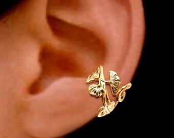 Small Art Nouveau flower ear cuff Gold earrings Art Nouveau jewelry Art Nouveau earrings Art Nouveau ear cuff clip Gold ear cuff C-139G