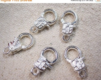 ON SALE Silver Plated Sleek Art Deco Lobster Claw Clasps 16mm x 9mm 10 clasps F409