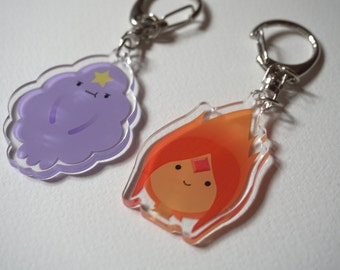 Adventure Time LSP (Lumpy Space Princess) & FP (Flame Princess) acrylic charms