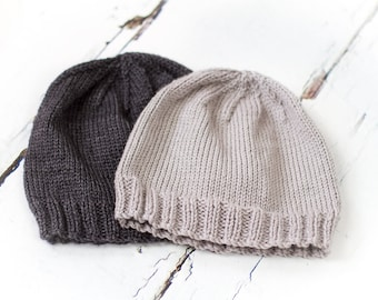 Hand Knit Adult Beanie Hat - Luxury Cashmerino - Charcoal or Grey; READY TO SHIP