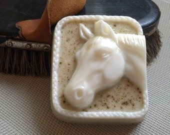 Glycerin and Goats Milk Horse Head soap bar in Sweet Grass fragrance by Lavish Handcrafted