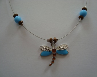 Brown and turquoise Dragonfly necklace