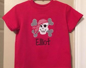 Pirate skull applique shirt includes name monogram