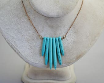 Howlite Turquoise Fan Spear Necklace Spike Necklace 19 inches