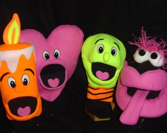 1 new BLACKLIGHT PUPPET-muppet professional-u choose-lips, heart, candle, lightbulb