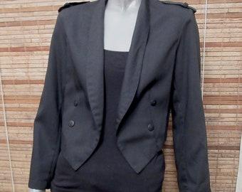 Blazer Hot Ticket Black Pointed Hem Vintage Open Blazer Jacket Sz M