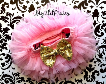 PINK Tutu Bloomer ruffles all the way around,Gold Sequin BowBloomers, Chiffon Baby Bloomer, Diaper cover, newborn tutu bloomer-ready to ship