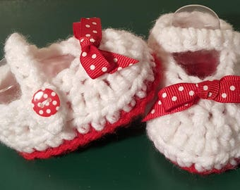 Crochet Baby Girl Shoes, Retro Baby Shoes, Baby Shoes, Red and White Baby Shoes, Shoes