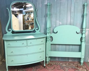 2pc set dresser and twin 4 post bed jadeite green
